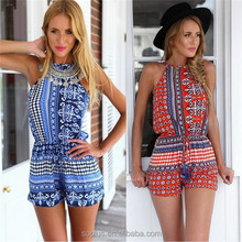 Hot Sale 2015 Fashion Women'S Summer Bule Print Sleeveless Jumpsuit Backless Hollow Out Sexy Casual Halter Mini Playsuit
