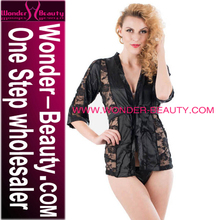 Wholesale Matue Women Black Transparent Lace and Silk Sexy Short Nighty