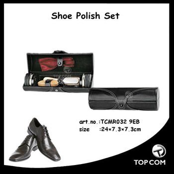 man travel shoe shine kit in pu case