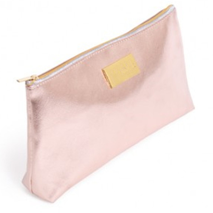 Premium wholesale new promotion fashion Metallic faux leather zippered pouch
