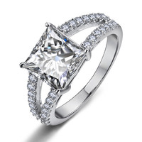 Large crystal CZ zircon ring silver jewelry ring with square CZ Diamond ring for wedding