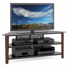tempered glass TV Stand / iron frame/ wood legs