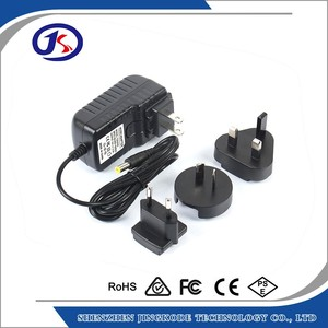 wall mount interchangeable plug power adapter 12V 1A univeral power supply
