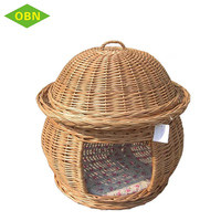 Wholesale Eco-friendly round 2 tier willow woven pet basket with cover