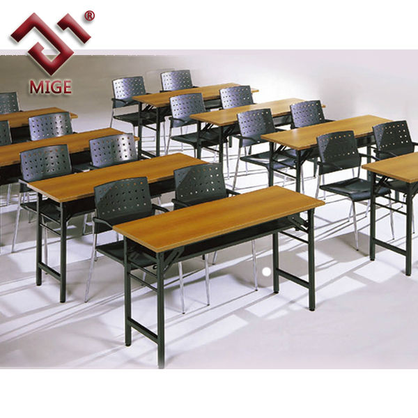 Metal leg wood top school desk and chair set