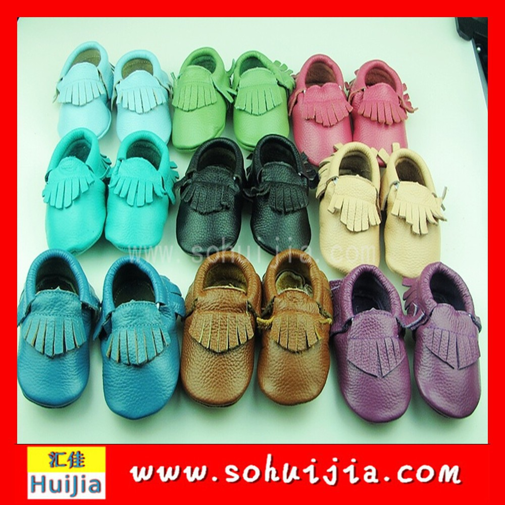 Alibaba China latest design cow leather moccasins soft boy and girl sweet tassels Bead Baby Shoes