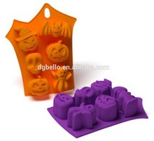 Halloween Design FDA&LFGB Approved Bat Skull and Angry Pumpkin Shape Silicone Cake Mold