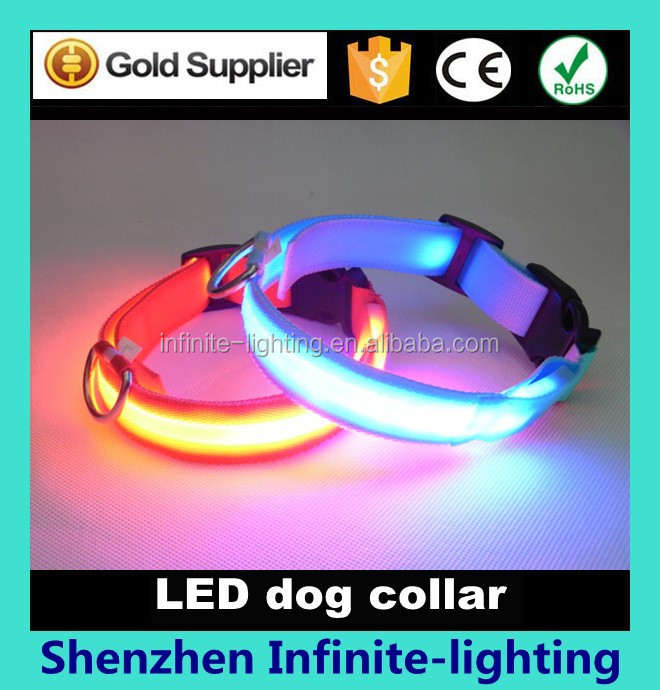 glowing led pet collar/flashing led dog training collar and leash/flashing led dog training collar