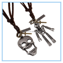Statement skull pendant necklace Zinc Alloy genuine Leather Sweater Adjustable Necklace Wholesale