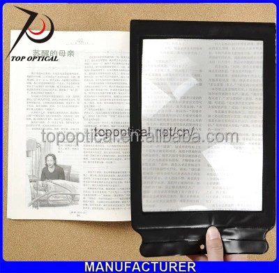 A4 size plastic fresnel lens full page magnifier for reading