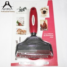 Double sided stainless steel blade pet grooming comb(red)