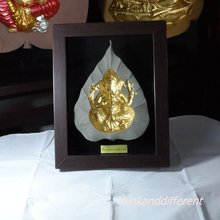 GANESH (GANESHA) , Sculpted in bas relief on a Bo Tree leaf,the face 3D,HANDMADE SANDSTONE ART