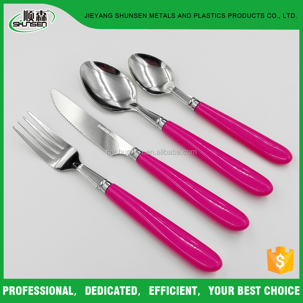 Korean Stainless Steel Plastic Handle Plastic Spoon Fork And Knife