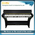 wood stand piano black