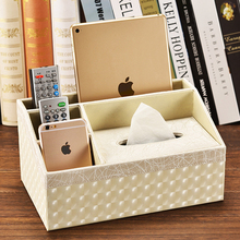 PU Leather Multifunction Facial Tissue Box Napkin Towel Case Covers Pen pencil remote control Holder for home office car