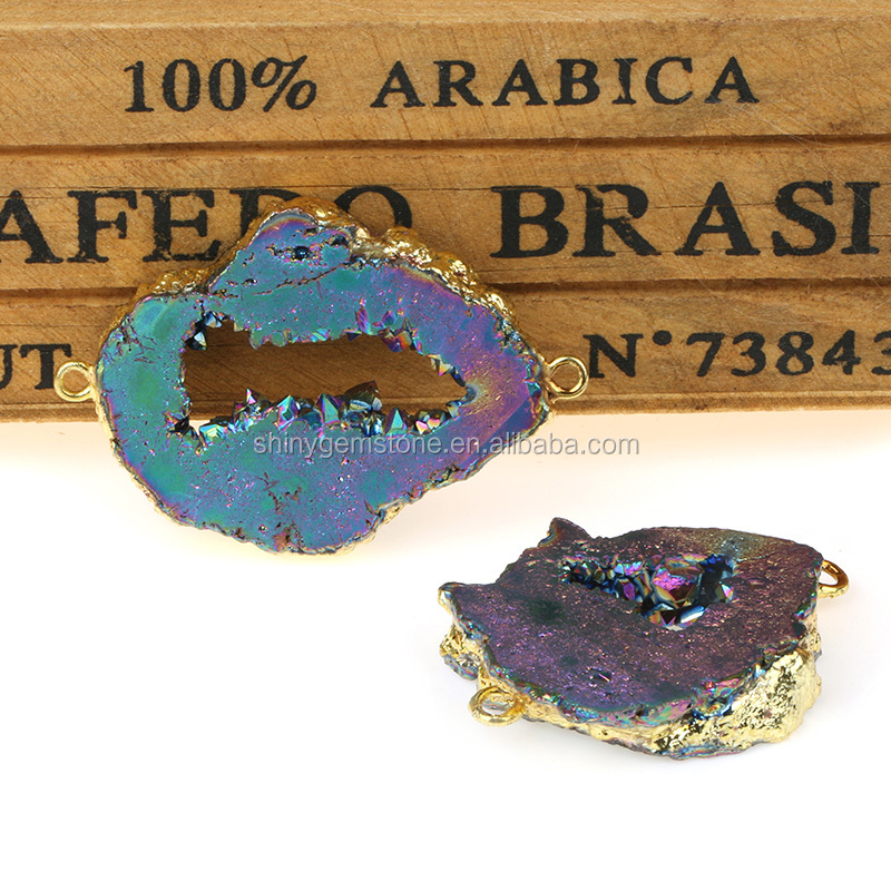 24k Gold Plated Brazil Agate Crystal Geode Jewelry Wholesale Druzy Connector Pendant Charms For Necklace Bracelet Making