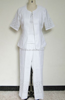 White Women Linen Ramie 3 Pcs Pants Suit