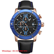 OEM brand Japan quartz movement stainless steel watch with genuine leather strap for men FS863