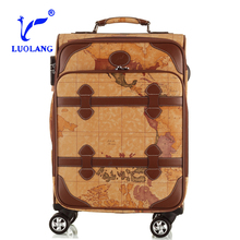 hot sell best design emient durable personalized luggage sets map travel bag suitcase