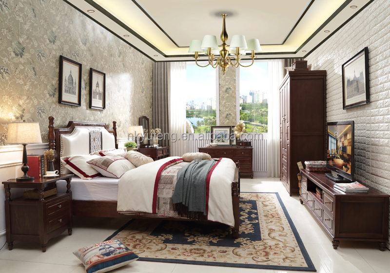 Nankang furniture factory design new American style solid wood bed compared with Rococo French bed