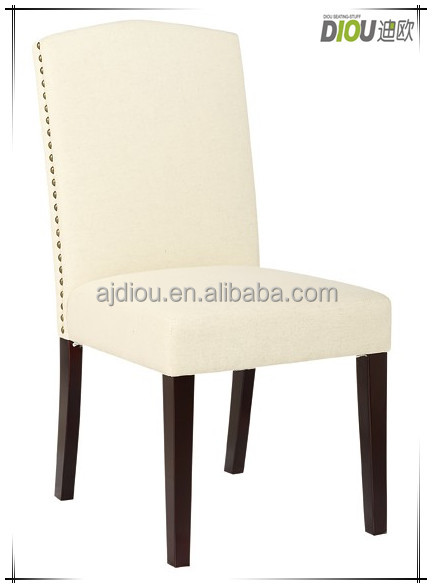 PU material exquisite wood frame dining chair decorated with brass nails - 2014 new model (DO-6056)