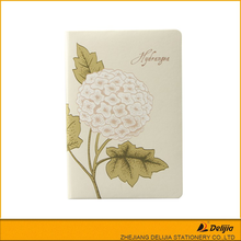High quality flower design office personal cheap pu leather book cover