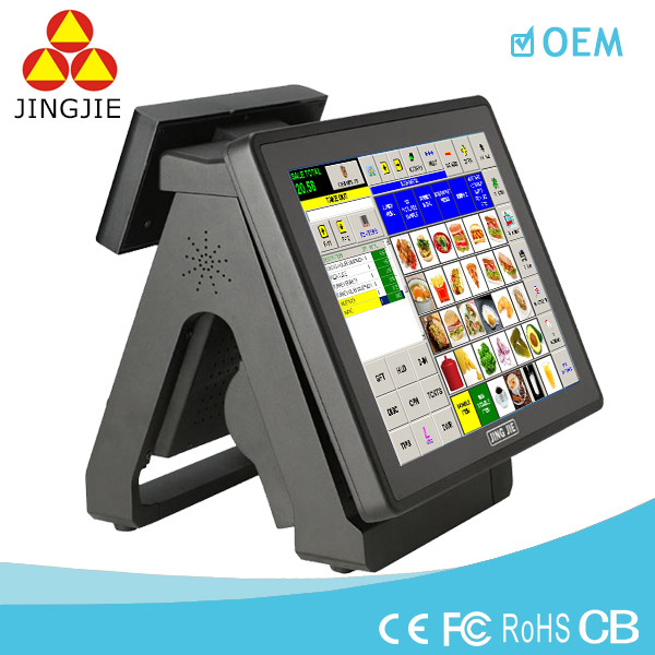JJ-8000BU All in one touch screen POS terminal with VFD Customer display