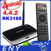 Android 4.4 TV Box RK3188 Quad Core TV Box RJ-45 USB WiFi XBMC Smart TV Media Player with Remote Controller