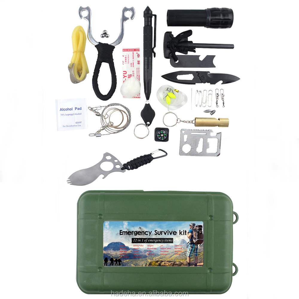 26 in 1 - Outdoor Paracord Emergency Blanket Fire Starter Emergency Survival Kit with Folding Knife