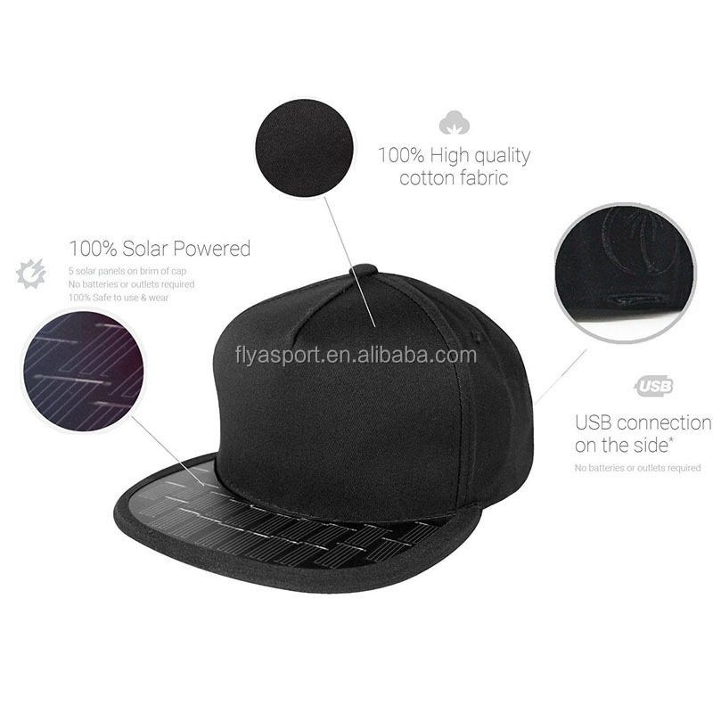 2018 new design solar cap snapback hat solar hat for cell phone and USB device charges