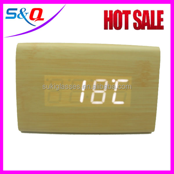 square wooden time digital clock in office
