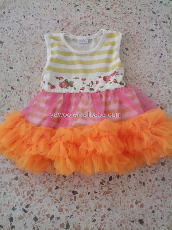 2014hot sale birthday cotton 1 year old girls fashion baby stripes top tank dress with orange chiffon ruffles autumn girls dress