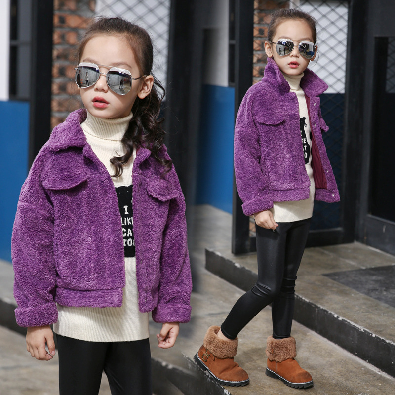 ZH02823B wholesale manufacturer overseas children clothing lamb wool coat