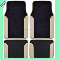 A Set of 4 Universal Fit Plush Carpet with Car Vinyl Trim Floor Mats
