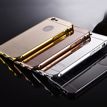 Wholesale Luxury Ultraslim 2 in 1 Detachable Bumper Electroplating Aluminum Metal Mirror Phone Case for iPhone 5 5s 6 6s Plus