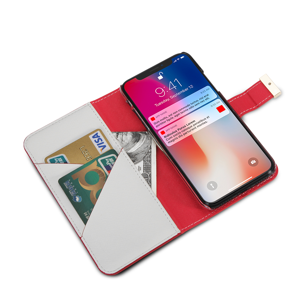Superior quality PU  contrast color painting metal decorate  flip and special credit card pocket  for iphone X XS 5.8''