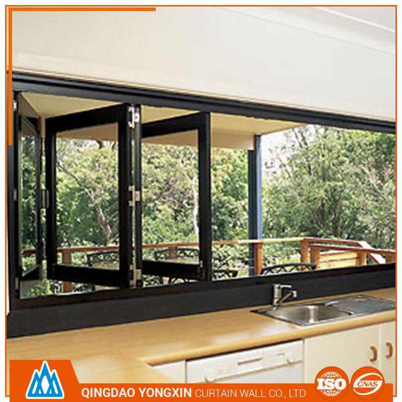 kitchen aluminum double glazed folding window with grill