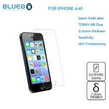 Blueo Japan Asahi glass 2.5D Edge High Definition 0.26mm tempered glass screen protector for iphone4/4s with retail package