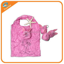 Cute rabbit shape foldable cheap pe shopping bag, folding pe bag