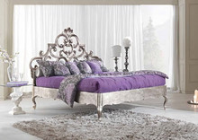 Elegant Graceful Italian Style Handcarved Silver Crown Bed Made of Solid Wood BF11-02111a