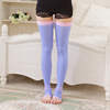 Breathable Purple Seamless Compression Korean Socks With Thigh High W107