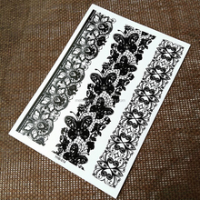 Butterfly Lace Tat Black White Temporary Tattoo Sticker for Arm Art