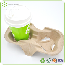 2015 Recyclable Coffee Pulp Paper Cup Tray For 2 Cups OEM Design Sugarcane Bagasse Coffee Tray