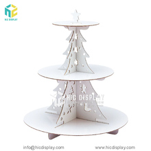HIC OEM Design Cardboard 3 Tier Cupcake Display Unit Customized Display Stand