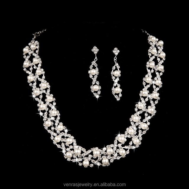 Wholesale Korean Fashion Design Luxury Noble Waterdrop CZ Crystal Women Bridal Wedding Party Earrings Necklace Jewelry Set