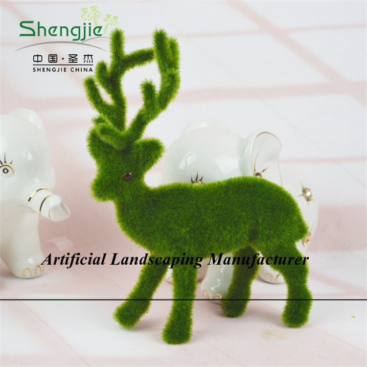 new design moss deer fake green color moss topiary for garden/hotel/park decoration