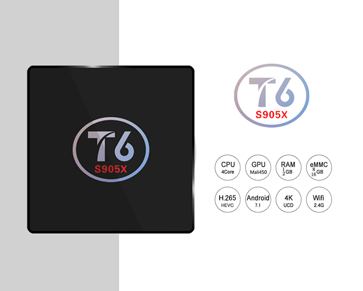 1 Chip de T6 s905x logotipo Personalizado caixa de tv android 7.0 na fábrica de shenzhen