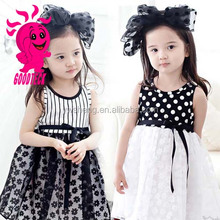 New arrival wholesale children sleeveless polka dot party dress