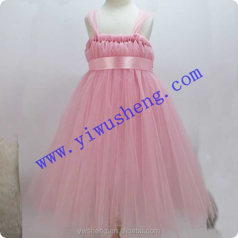 2015 Light Pink Girl Party Wear Handmade Crochet Dress Princess Kid Knit Tutu Dress