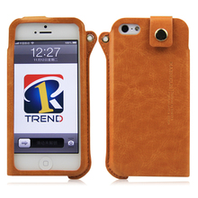 Hot selling wallet design fashion leather with sling case for apple iphone 5
